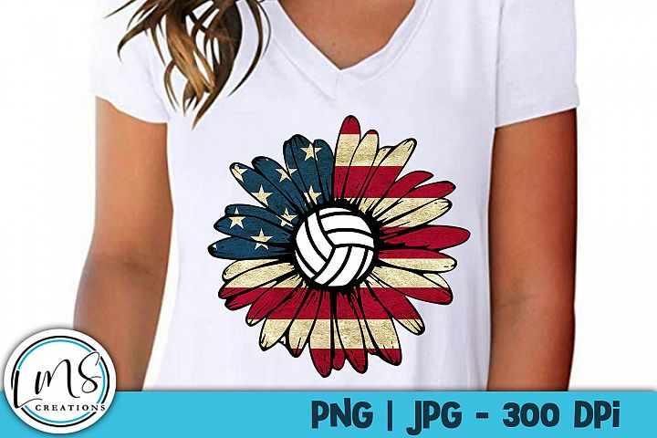 Patriotic Sunflower - Volleyball PNG, JPG, Sublimation