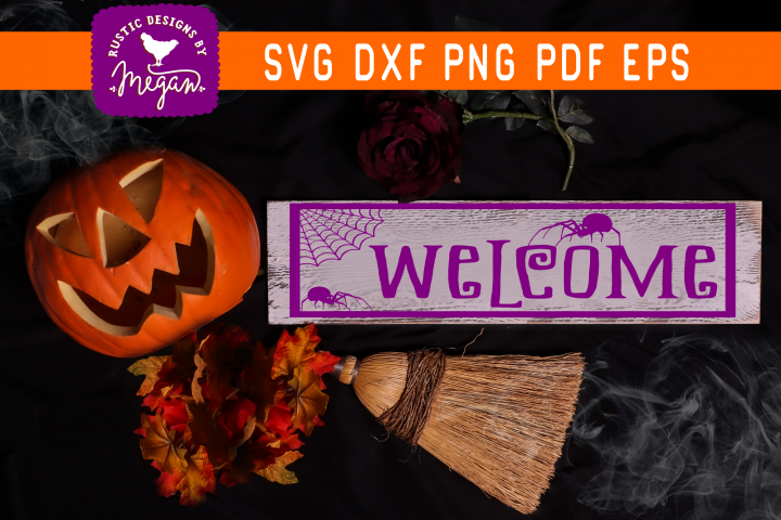 Halloween Welcome Spider svg cut file