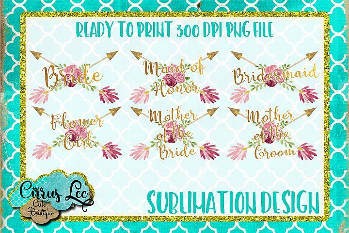 Bridal Party Sublimation Design Set