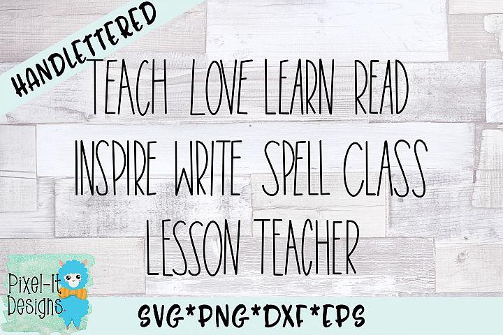 Teacher Skinny Words Hand Lettered SVG Cut File