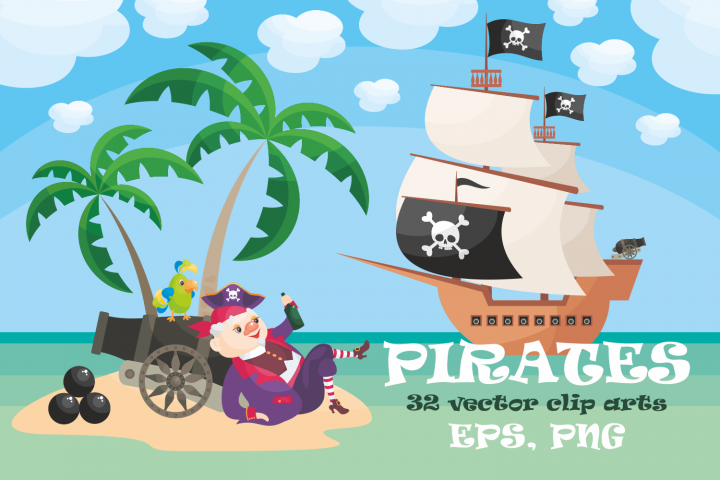 Pirates. Vector clip arts.