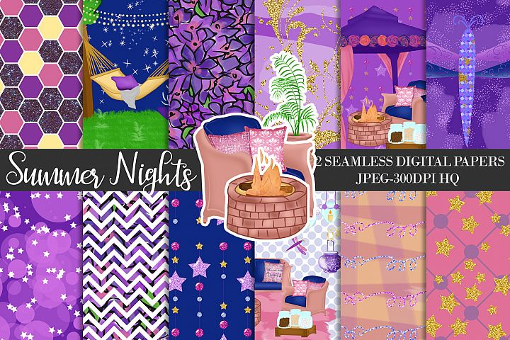 Summer Night Digital Papers, Starry Night Patterns, Summer Backgrounds