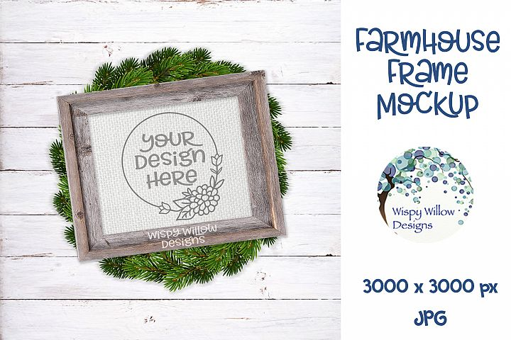 8x10 Horizontal Farmhouse Frame and Wreath Mockup