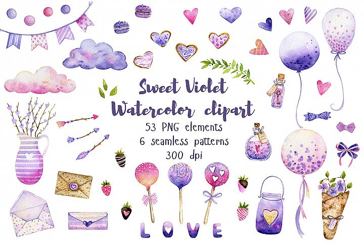 Sweet & Love Violet Watercolor Clipart. Seamless Patterns