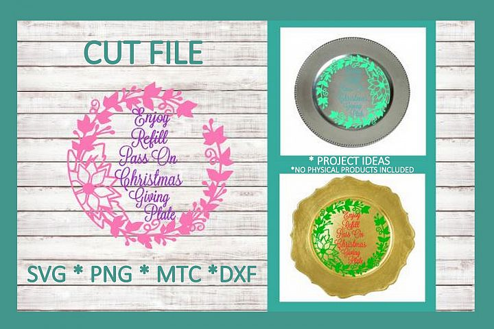 SVG Cut File Christmas Giving Plate Design #07