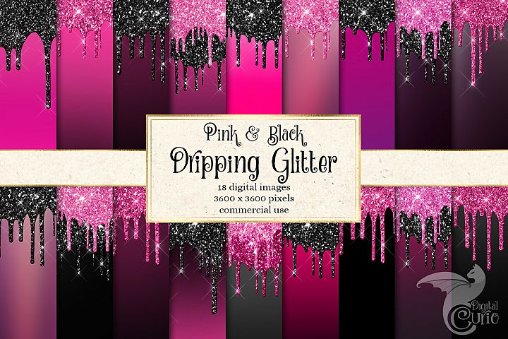 Pink and Black Glitter Drips Digital Paper