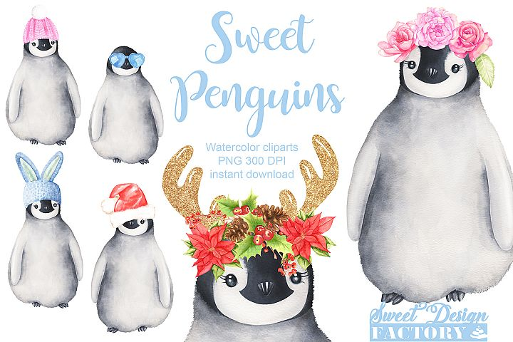 Watercolor penguin cliparts