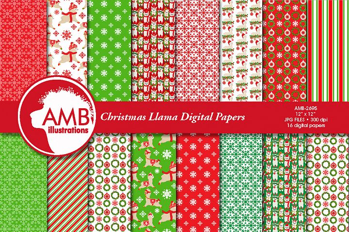 Christmas Llama Digital papers AMB-2695