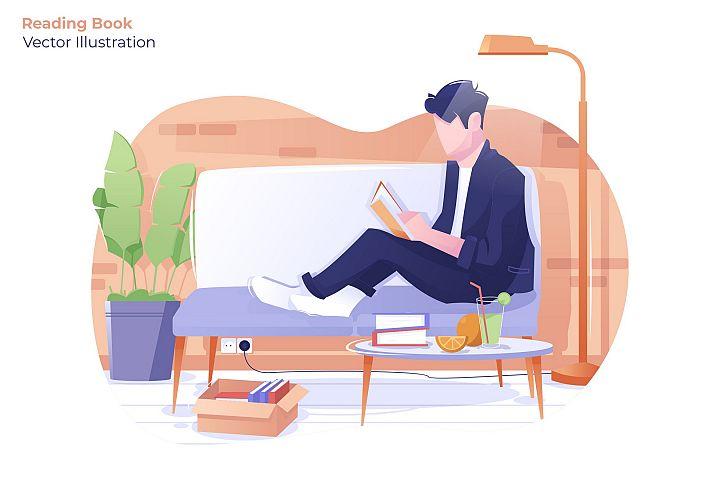 Reading Book - Vector Illustration