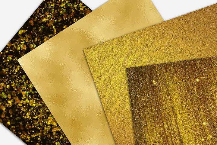 Gold Foil and Glitter Textures - Metallic Digital Papers example 2