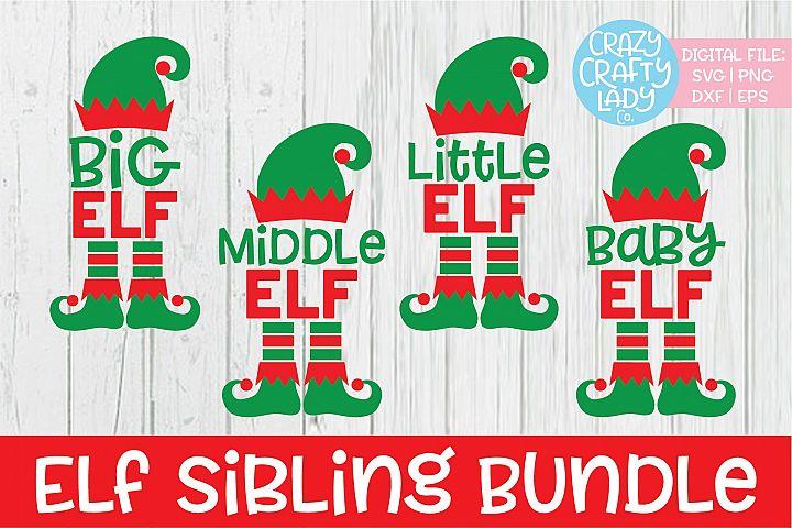 Elf Sibling Christmas SVG DXF EPS PNG Cut File Bundle