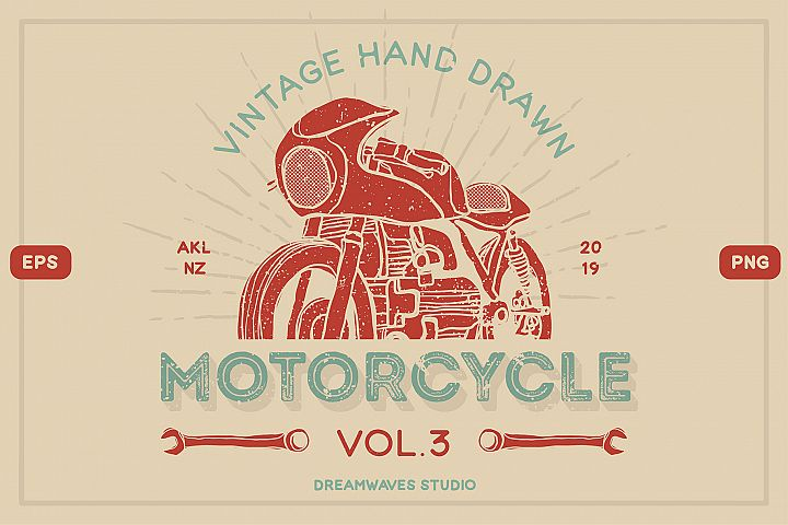 Vintage Hand-Drawn Motorcycle Vol.3
