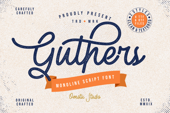 Guthers - Monoline Script Font - EXTENDED LICENSE