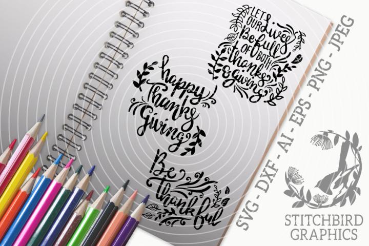 Thanksgiving Quotes 1 Bundle SVG, Silhouette Studio, Cricut