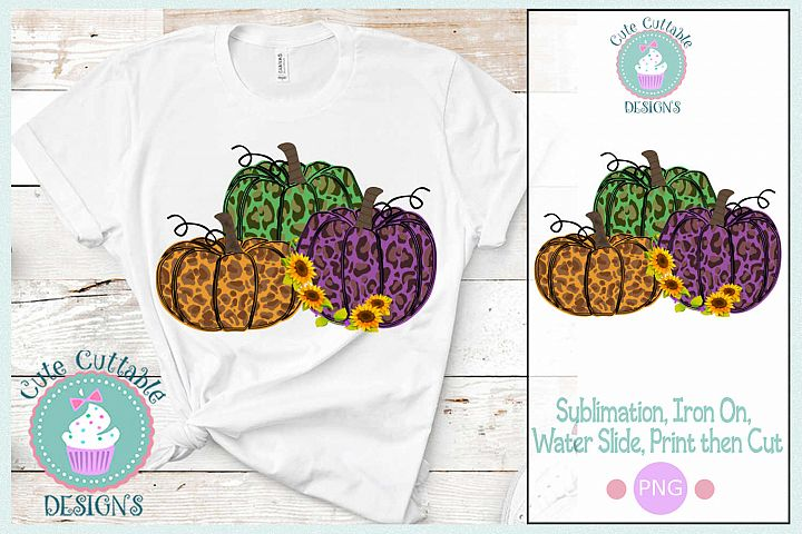 Sublimation Cheetah Pumpkin Design PNG Fall Leopard Print