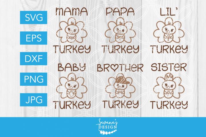 Thanksgiving Turkey Family SVG Bundle