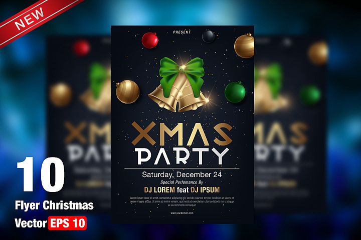 Christmas Party Flyer Template - vector