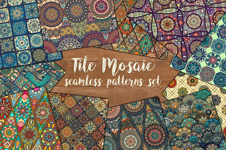 Tile mosaic seamless patterns set