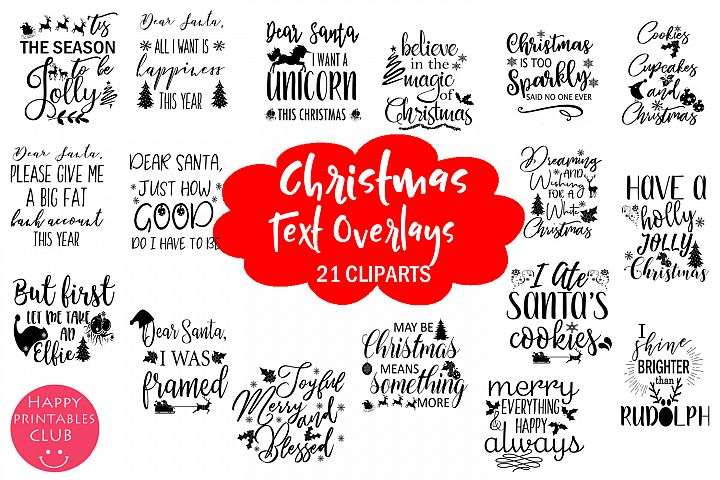 Christmas Holidays Text Overlays Clipart-Christmas Overlays