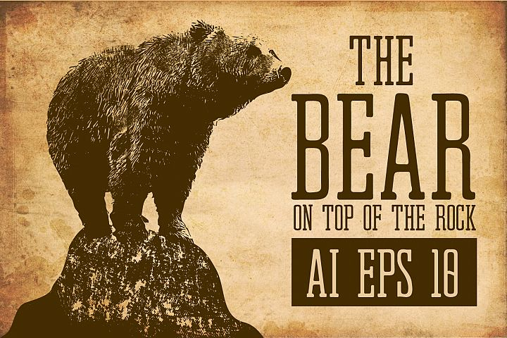 Retro Vintage Bear on Top of the Rock AI, EPS