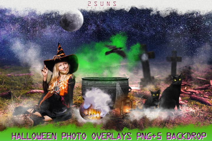 Halloween overlays, Pumpkin, Raven, Cat, Spider, Backdrop