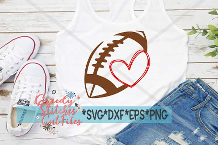 Football Heart SVG, DXF, EPS, PNG Files