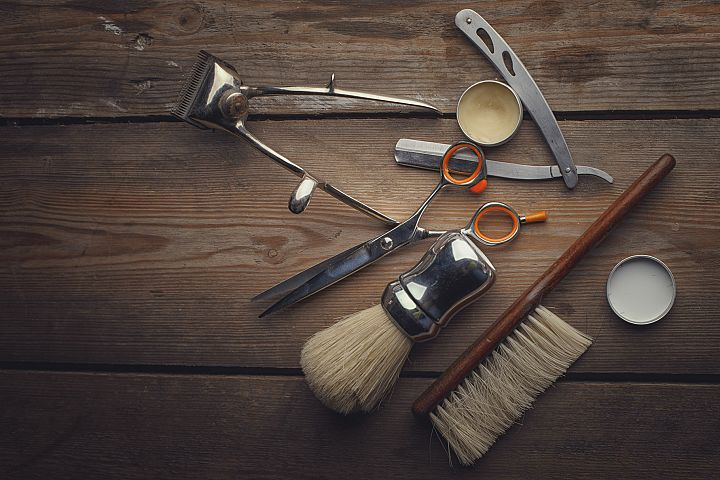 Barber shop wooden backgrounds JPG set example 2
