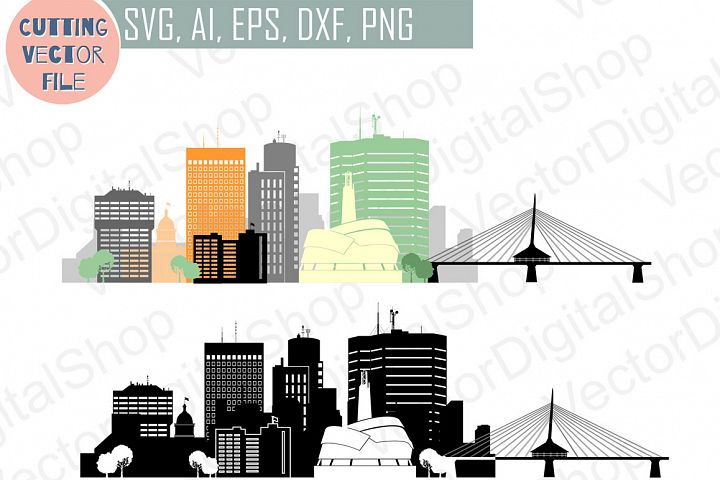 Winnipeg Vector silhouette, Canada Skyline USA city, SVG, JPG, PNG, DWG, CDR, EPS, AI