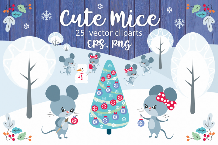 Cute mice. Vector clip arts.