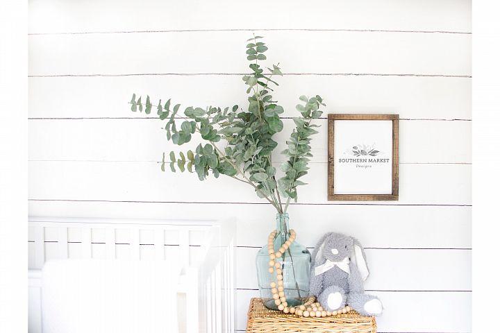 Nursery 8x10 Sign Mock Up Wood Frame Styled Photography