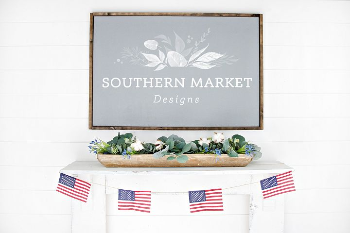 Patriotic Summer Wood 24x36 Sign Mock Up Stock Photo