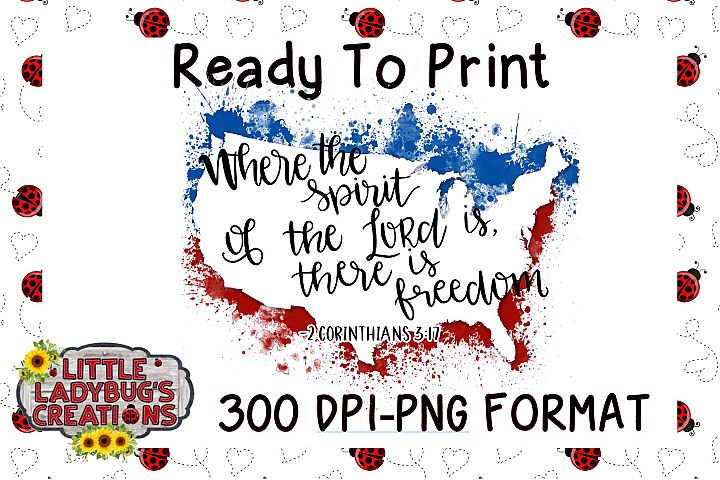Freedom USA Splatter 300DPI PNG Printable Digital Design