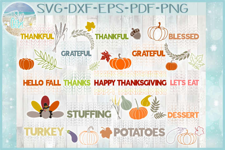 Thanksgiving Mirrored Word Holiday Quote & Design Bundle SVG