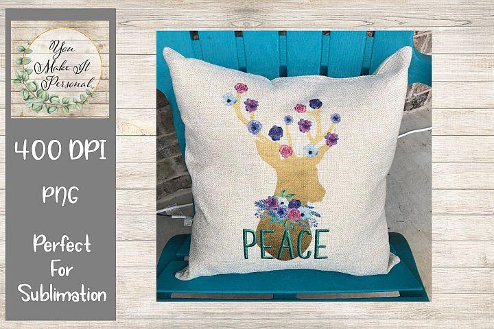 Peace- Watercolor Deer- Floral Reindeer