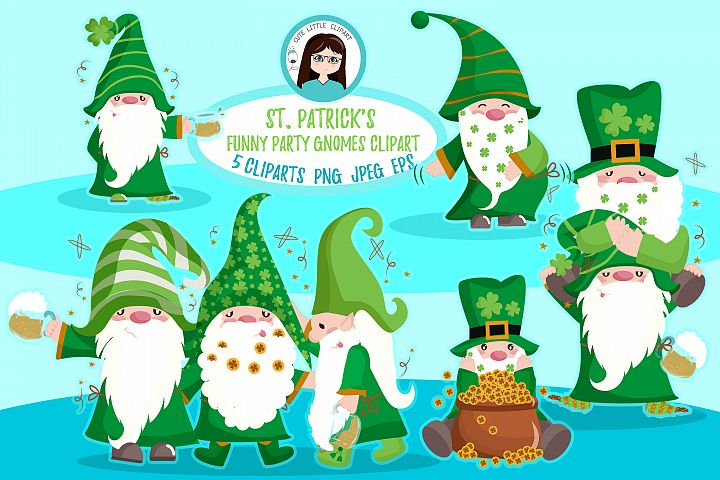 St. Patrickss Funny Gnomes Cliparts