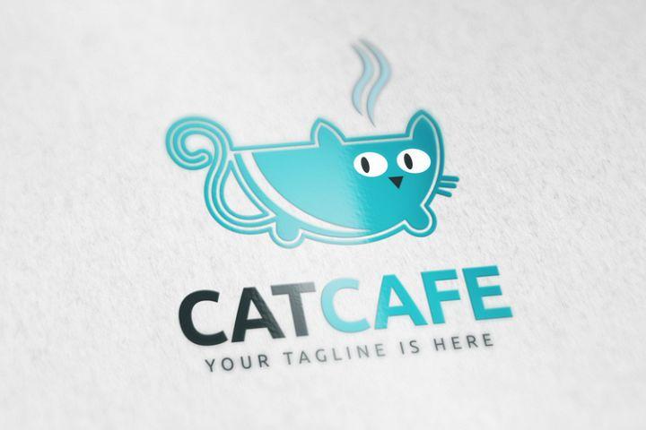 Cat Cafe Logo Template