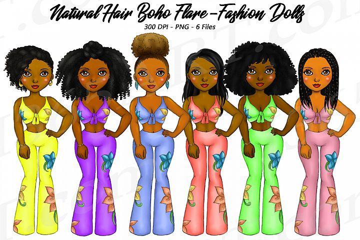 Summer Boho Girls Clipart, Black Girls, Natural Hair, Fashio