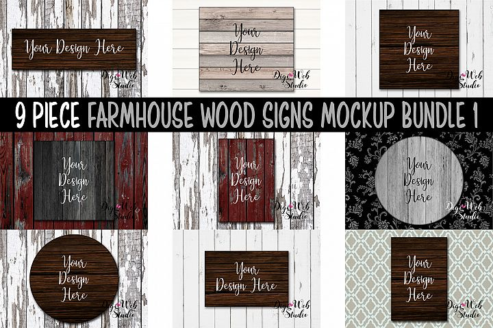 Wood Signs Mockup Bundle - 9 Piece Farmhouse Wood Signs 1