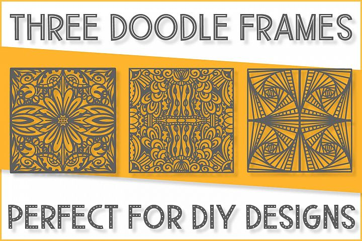 Three Doodle Frames - A Tangle Texture Pack - SVGs