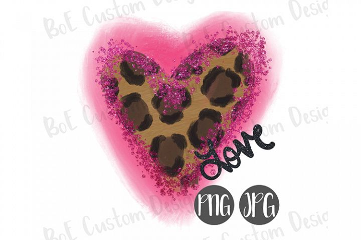 Leopard Heart Valentine Drawn Clipart with Glitter