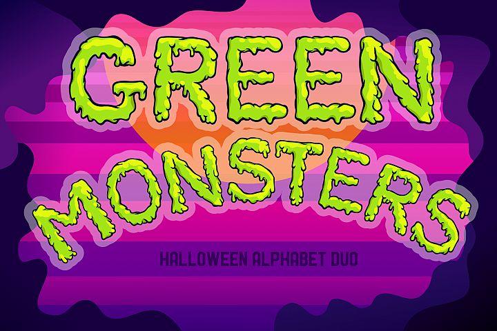 Green Monsters Halloween SVG & sublimation alphabet