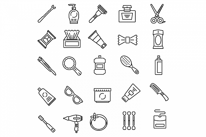 Personal care products outline icons set