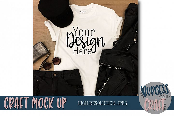 Leather jacket t-shirt Craft Mock up | High Resolution JPEG