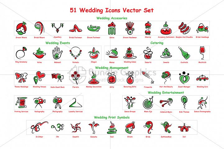 Indian Wedding - Vector Graphic Icons