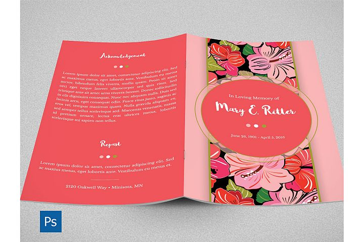 Hibiscus Bi-Fold Funeral Program Template