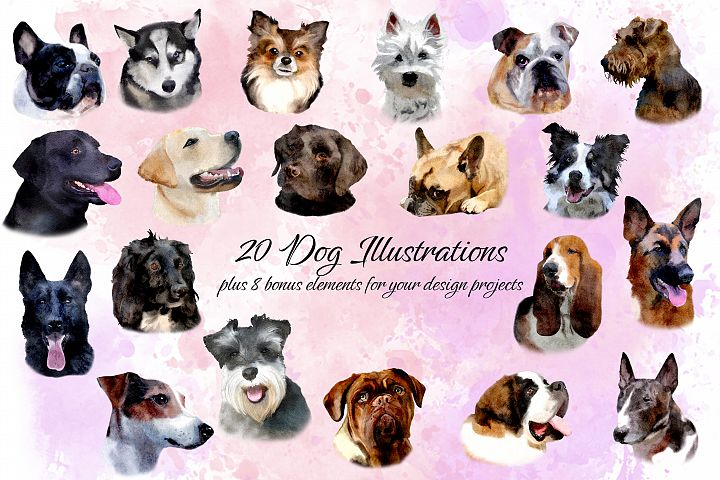 20 Dog Illustrations