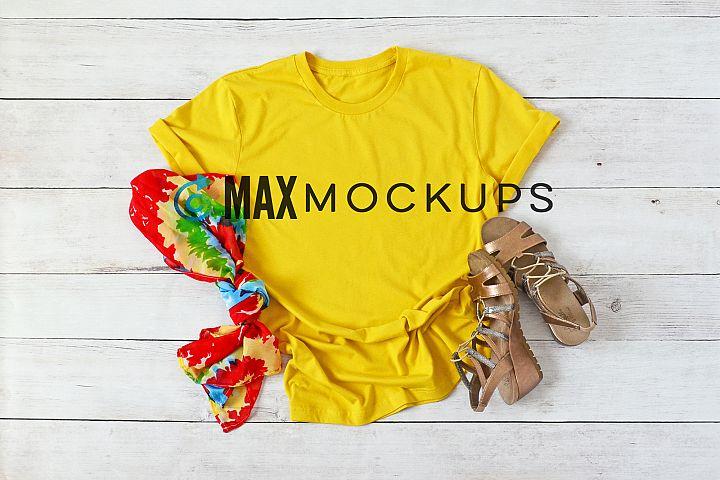 Yellow t-shirt Mockup Bella Canvas, blank shirt flatlay