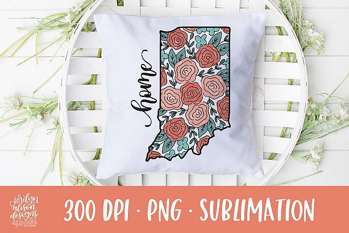 Home Indiana, Coral Roses Sublimation Design