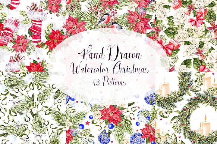 Hand Drawn Watercolor Christmas 13 Patterns