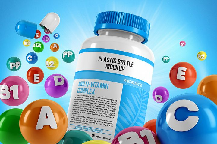 Plastic Pill Bottle With Colorful Vitamins Mockup